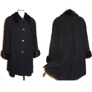VTG 80s Black Wool Swing Coat Genuine Mink Trim